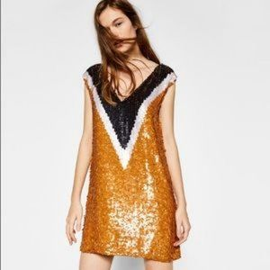 Zara Sequinned Shift Dress With V Neck, Small, NWT